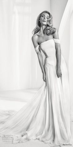 atelier pronovias 2018 bridal off the shoulder straight across neckline simple romantic soft a  line wedding dress open back chapel train (6) mv -- Atelier Pronovias 2018 Wedding Dresses | Wedding Inspirasi #wedding #weddings #bridal #weddingdress #bride ~