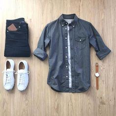 Follow @inisikpe for daily style #SuitGrid to be featured  ________________________________________ #SuitGrid by: @mrjunho3 ________________________________________  Tap For Brands #inisikpe Oxford Shirt: @jcrew T-Shirt: @allsaints Denim: @uniqlo Shoes: @converse Watch: @boomwatches Wallet: @tovierwallets