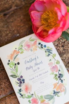 Watercolor Wreath - baby shower invitation by Minted artist Yao Cheng. Sweet florals for a Spring time shower.