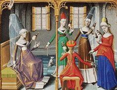 Women using the reel, 1400s Illuminated manuscript from the Koninklijke Bibliotheek