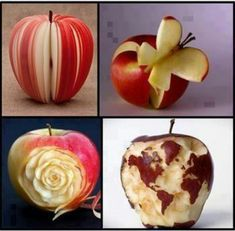 I made a flower out of an apple before, but I used the whole apple and it didn't come out nearly as good as this one!