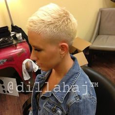 Fantastic fade! Looks great bleached blonde, very bold look that will for sure…