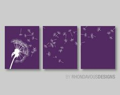Dandelion in the Wind Print Trio. Purple and White Dandelion. Home Decor. Wall Art. Living Room. Dandelion Art. Dandelion Nurery. (NS-315)