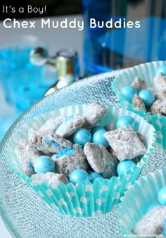 Baby Shower Food Ideas: Chex Muddy Buddies Recipe (also shows how to make a Pink Version) Chex Puppy Chow Dessert