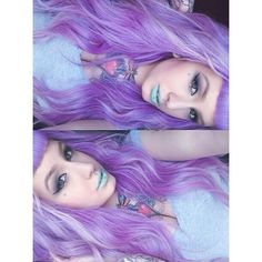 Makeup and hair. Pastel goth. Purple lilac hair and turquoise baby blue makeup. Alternative witch house style/fashion.
