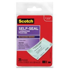 Scotch Self-Sealing Laminating Pouches, 25-Pack (LS851G), Business Card Size --- http://www.amazon.com/Scotch-Self-Sealing-Laminating-LS851G-Business/dp/B00004TS5X/ref=sr_1_78/?tag=affpicntip-20