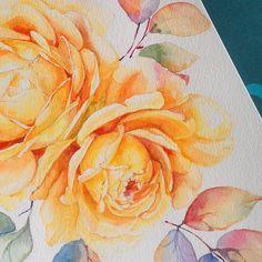 """А добавлю я им ветки черноплодки с рыжими листочками... #арт #творчество #акварель #цветы #watercolour #watercolor #artwork #art #paintjob #paintflowers…"""