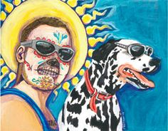 bradley  nowell and lou dog  from sublime day of the dead print. $15.00, via Etsy.