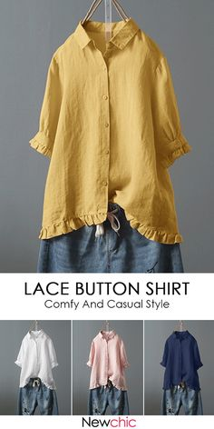 660a298fd2907 Lace Button Turn Down Collar Solid Color Shirt · Lace ButtonKimono TopWomen s  Tops