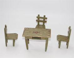 alter Tisch Stühle Bauernmöbel Bauernmalerei für  Puppenstube ca. 1900  #C552