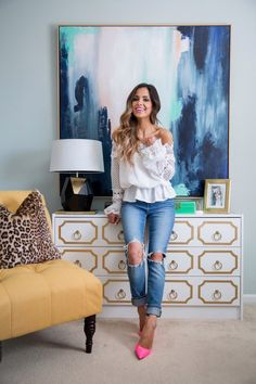 Home Office Tour. - Mia Mia Mine. Home Goods Art, Target Gold Lamp, IKEA DIY Campaign Dressers, Target Yellow Accent Chair, Leopard Pillow, Pier 1 Imports Mannequin, Sea Salt Paint by Sherwin Williams, Anthropologie Chinoiserie Wallpaper, World Market White Desk, Restoration Hardware Chair, Target Lamp, Restoration Hardware Chandelier