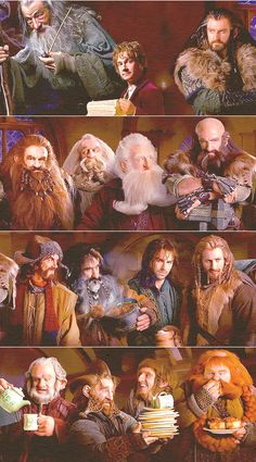 The Hobbit Here's everyone in this picture - Gandalf, Bilbo, Thorin, Gloin, Oin, Balin, Dwalin, Bofur, Bifur, Kili, Fili, Dori, Nori, Ori, and Bombur!