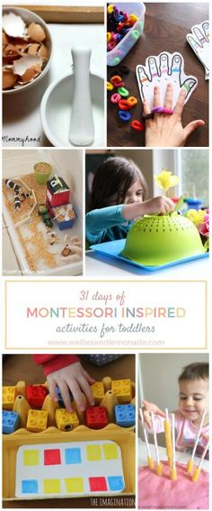 31 days of Montessori inspired activities for toddlers. Click through to read or pin now for later. Find more at http://www.welliesandlemonade.com