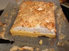 Topped with soft meringue over a zesty lemon filling, serve up this easy slice for special occasions. Citrus Recipes, Milk Recipes, Low Carb Recipes, Sweet Recipes, Baking Recipes, Cake Recipes, Dessert Recipes, No Cook Desserts, Just Desserts