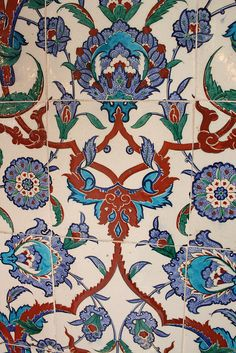 """Iznik Tiles, showing the famous """"tomato red,"""" from the tomb of Sultan Mehmet III"""