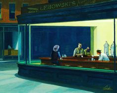 nighthawks by Edward Hopper. – Nighthawks is a 1942 oil on canvas painting by Edward Hopper that portrays people in a downtown diner late at night. It is Hopper's most famous work, and is one of the most recognizable paintings in American art. National Gallery Of Art, Art Gallery, National Art, Vincent Van Gogh, Painting Prints, Canvas Prints, Art Prints, Canvas Art, Oil Paintings