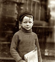 "May 1910. St. Louis, Missouri. ""Boy named Gurley. An eight year old newsie. 18th & Washington Streets."" View full size. Photograph by Lewis Wickes Hine."