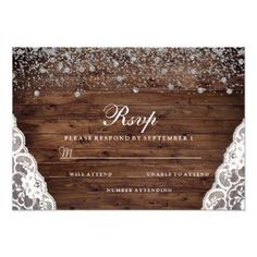 #Rustic Vintage Wood Lace Wedding Invitation RSVP - #weddinginvitations #wedding #invitations #party #card #cards #invitation #vintage #vintageweddinginvitations
