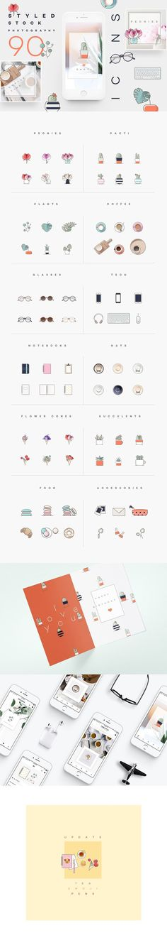 Styled stock photography icons - ICONS FOR STYLED STOCK PHOTOGRAPHERS!  Lovely collection of 90 icons that are specially curated for styled stock photographers, designers, bloggers, digital influencers and creative freelancers!  This set contains all the favorite subjects in styled stock photography including the all-present peony flowers, cacti, succulents, monstera plants, smartphones, notebooks, fashion accessories etc.  Icons are provided as vectors, rasters and SVG-s which makes them…