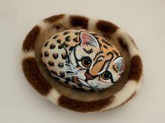 Ocelot kitten painted rocks Valentine gift ideas by RockArtiste