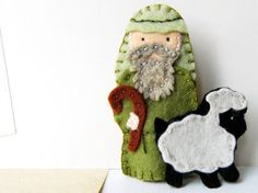 Nativity Christmas Finger Puppet Set in Wool Felt by claraclips