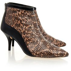 Loeffler Randall Taupe Black Snakeskin Reese Boots ( 165) ❤ liked on  Polyvore featuring 931ffc476b
