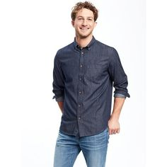 Old Navy Mens Regular Fit Classic Chambray Shirt ($32) via Polyvore featuring men's fashion, men's clothing, men's shirts, men's casual shirts, blue, mens button down collar shirts, mens blue short sleeve shirt, men's blue chambray shirt and mens regular fit shirts