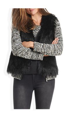 Fake fur gilet zwart