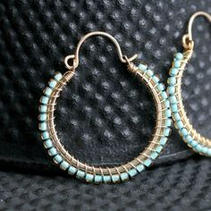 Handmade beaded hoops, medium size, turquoise, aqua, Toho seed beads, gold filled, teal, hoop earrings, wire wrapped, Mimi Michele Jewelry