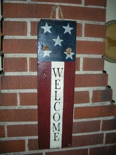 Americana Tall Welcome 6 x 24 inch slate Rich Color & Antique finish Slate Art, Slate Rock, Flag Painting, Diy Painting, Slate Shingles, Tile Crafts, Wood Crafts, Painted Slate, Slate Signs