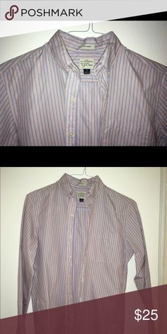J. Crew light blue and red sport shirt J. Crew sport shirt. Size S, slim fit. Blue and red stripe. White side gussets. Button down collar. J. Crew Shirts Casual Button Down Shirts