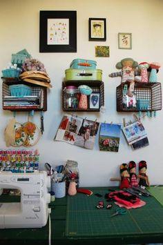 This craft room ... such inspiration! http://thestir.cafemom.com/home_garden/1605/Cakies_Show_Tell_Home_Tour?utm_medium=sm&utm_source=pinterest&utm_content=thestir