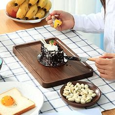 Wood Serving Tray Wooden Decorative Coffee Tea Platter Black Walnut Rustic Serving Trays, Food Serving Trays, Serving Trays With Handles, Wooden Platters, Wooden Food, Wood Tray, Charcuterie And Cheese Board, Cheese Boards, Rustic Cutting Boards