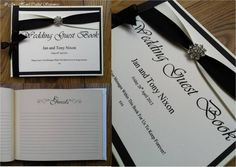 Black and ivory diamanté embellishment Wedding Guest Book  www.jenshandcraftedstationery.co.uk www.facebook.com/jenshandcraftedstationery