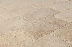 "Cabot Travertine Pavers Tuscany Walnut / 6""x12""x3cm / Honed, Chiseled, Unfilled"