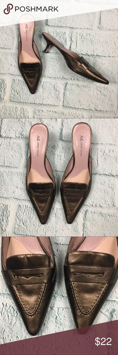 "Anne Klein Brown Metallic Leather Point Toe Mules Anne Klein Malynnfield Pointy toe mules in metallic brown.   	•	Good used condition - some wear to bottom sole and bottom heel tips 	•	Leather with man made balance 	•	Size 7.5 with approximately 2.5"" heel Anne Klein Shoes Mules & Clogs"