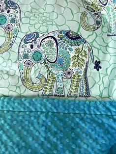 Elephant Toddler Minky -  Large Elephants Blue Fabric & Dark Turquoise Minky -   $75.00, via Etsy.