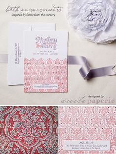 Love this idea: Letterpress birth announcements inspired by fabric from the nursery. Designed by Suite Paperie.