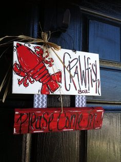 Crawfish boil sign  door hanger  party by Cutipiethis on Etsy