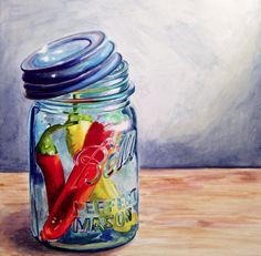 """""""Having a Ball with Hot Chilis"""" Original Watercolor on Ampersand Aquabord, 12 x 12"""". By Jennifer Redstreake Geary"""