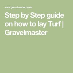 Step by Step guide on how to lay Turf | Gravelmaster
