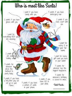 Holiday Party Games Who is most like Santa Game Instant image 0 Fun Christmas Party Games, Xmas Games, Holiday Games, Christmas Activities, Christmas Traditions, Holiday Fun, Christmas Decorations, Christmas Trivia, Christmas Games For Family
