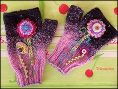 """Mitaines tricotées main fleurs magiques """" new collection """" VENDUES : Mitaines, gants par tricotcolor"""