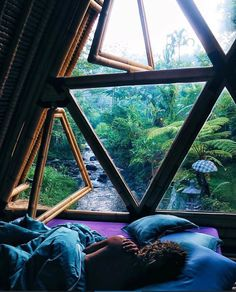 Natural light in a cozy room over looking a stream