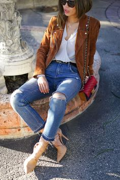aimee song from song of style wears veda suede jacket and ripped jeans