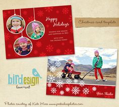 Holiday Card Template  Love winter  E182 by birdesign on Etsy, $7.00
