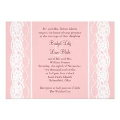 Ballet Pink and Vintage Lace Wedding Invitation