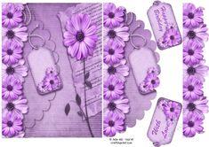Floral elegance purple mock envelope card | Craftsuprint 3d Sheets, Shaped Cards, Envelopes, Decoupage, Card Making, Shapes, Elegant, Purple, Birthday