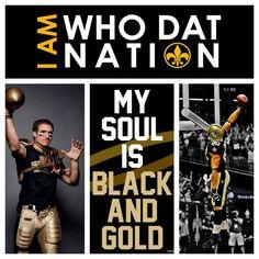 WHO DAT! New Orleans Saints! ❤ whodat, geaux saint, fave sport, new orleans saints, who dat nation, orlean saint, black, sport team, footbal