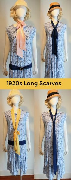 1920s scarf accessory: Long skinny scarves or a thicker fringe scarf ads interesting detail to a dress without permanent trim.